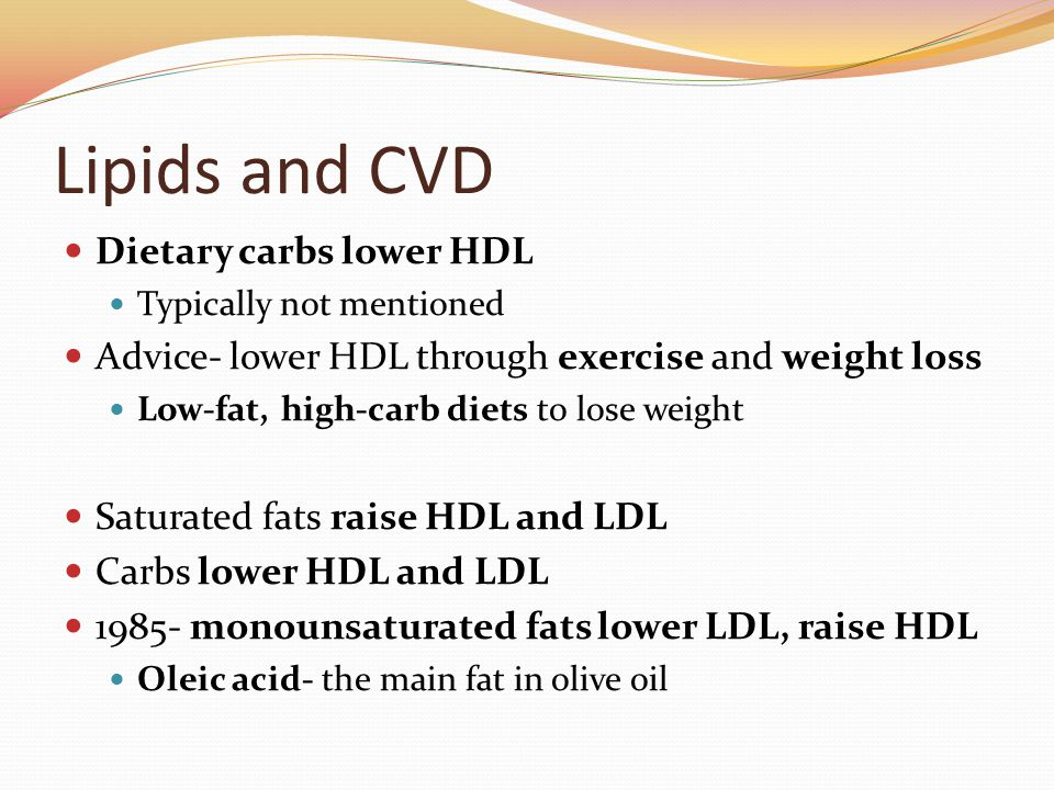 Lipids and CVD Dietary carbs lower HDL Typically not mentioned Advice- lower HDL through exercise and weight loss Low-fat, high-carb diets to lose weight Saturated fats raise HDL and LDL Carbs lower HDL and LDL 1985- monounsaturated fats lower LDL, raise HDL Oleic acid- the main fat in olive oil