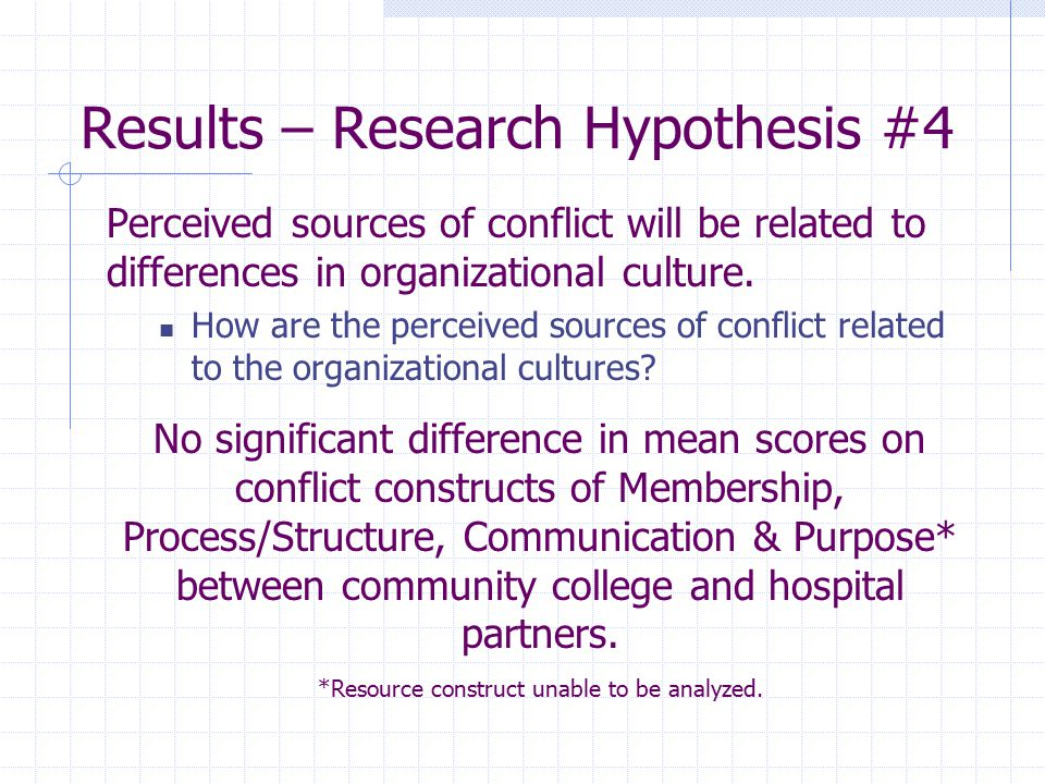 Results – Research Hypothesis #4 Perceived sources of conflict will be related to differences in organizational culture. How are the perceived sources