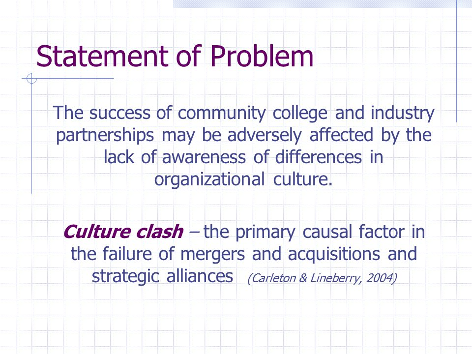 Statement of Problem The success of community college and industry partnerships may be adversely affected by the lack of awareness of differences in o