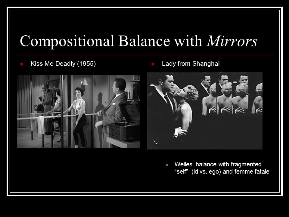 Compositional Balance with Mirrors Kiss Me Deadly (1955) Lady from Shanghai Welles' balance with fragmented self (id vs.