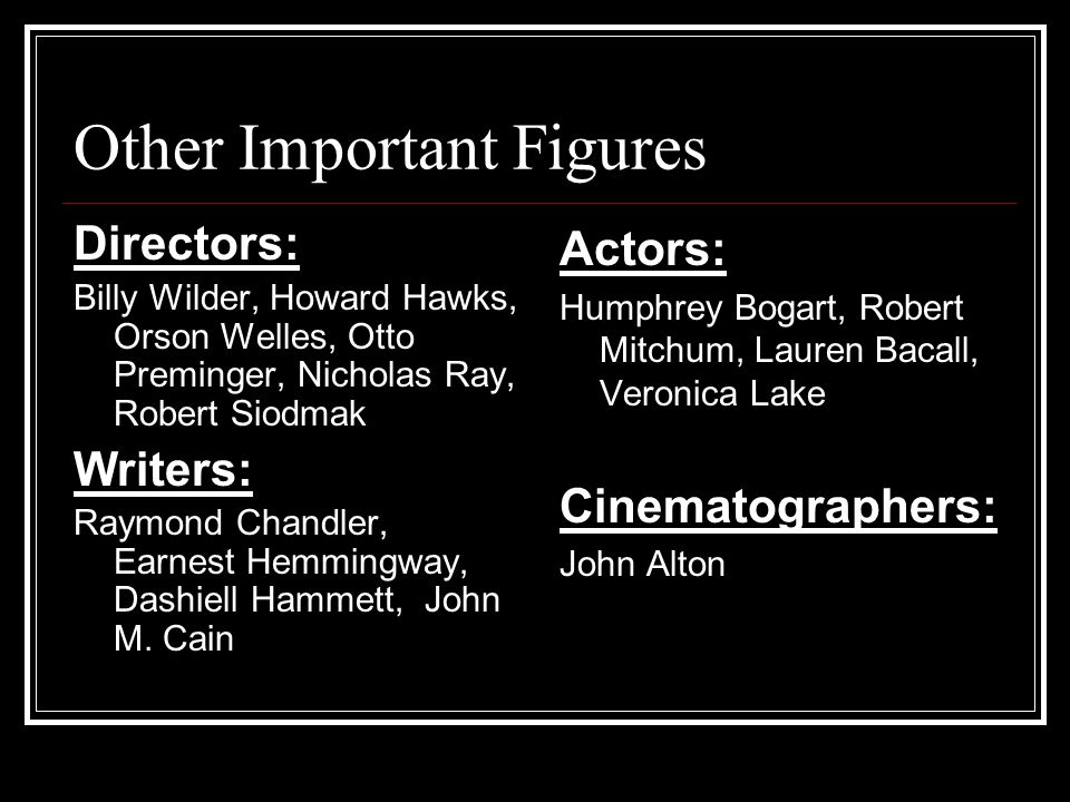 Other Important Figures Directors: Billy Wilder, Howard Hawks, Orson Welles, Otto Preminger, Nicholas Ray, Robert Siodmak Writers: Raymond Chandler, Earnest Hemmingway, Dashiell Hammett, John M.