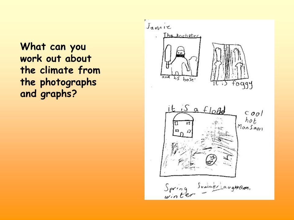 What can you work out about the climate from the photographs and graphs?