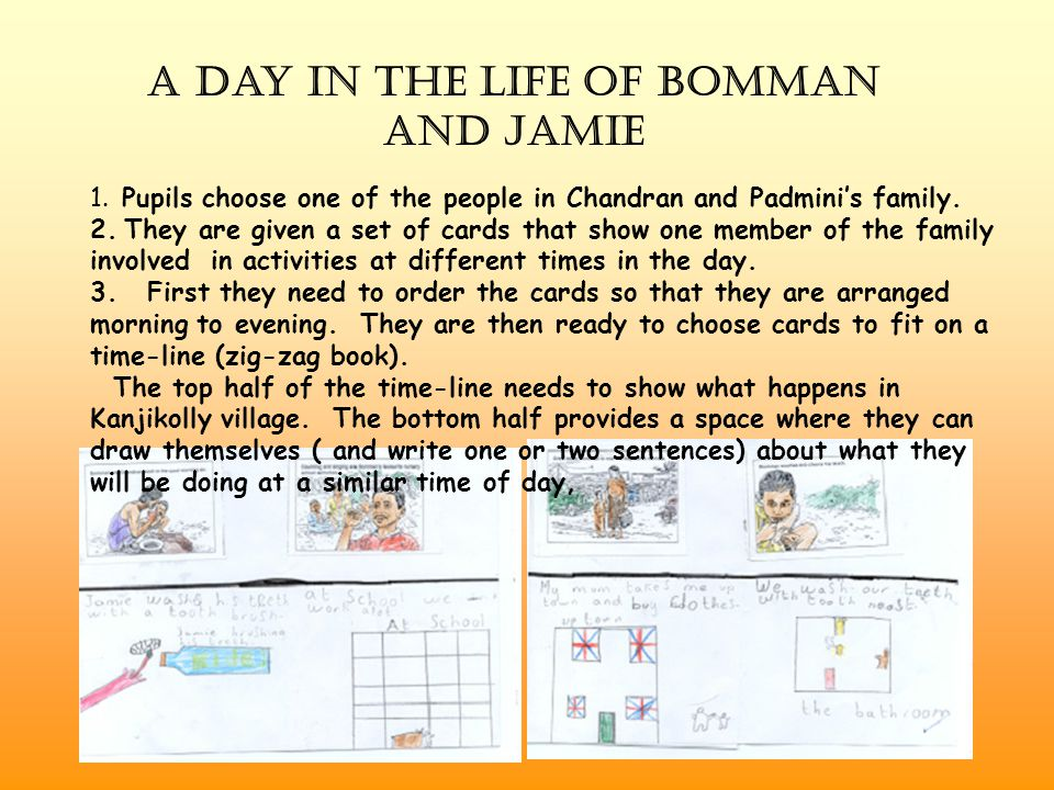 A Day in the Life of Bomman and Jamie 1. Pupils choose one of the people in Chandran and Padmini's family. 2. They are given a set of cards that show