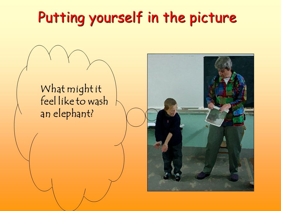 What might it feel like to wash an elephant? Putting yourself in the picture