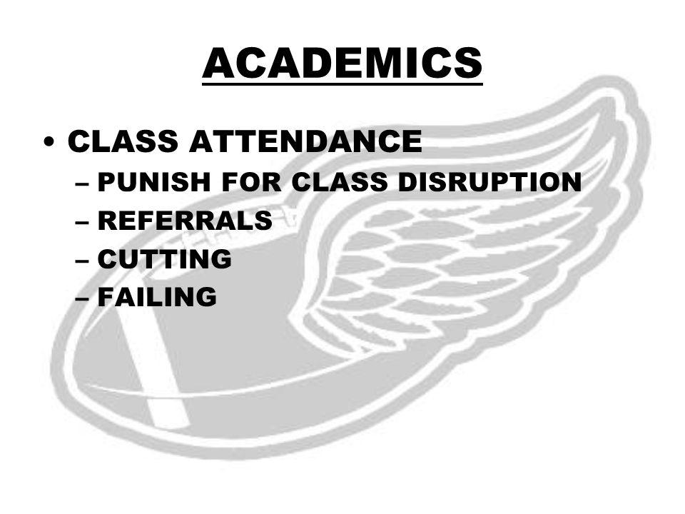 ACADEMICS CLASS ATTENDANCE –PUNISH FOR CLASS DISRUPTION –REFERRALS –CUTTING –FAILING