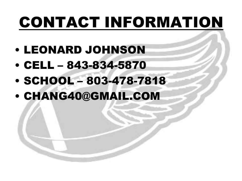 CONTACT INFORMATION LEONARD JOHNSON CELL – 843-834-5870 SCHOOL – 803-478-7818 CHANG40@GMAIL.COM