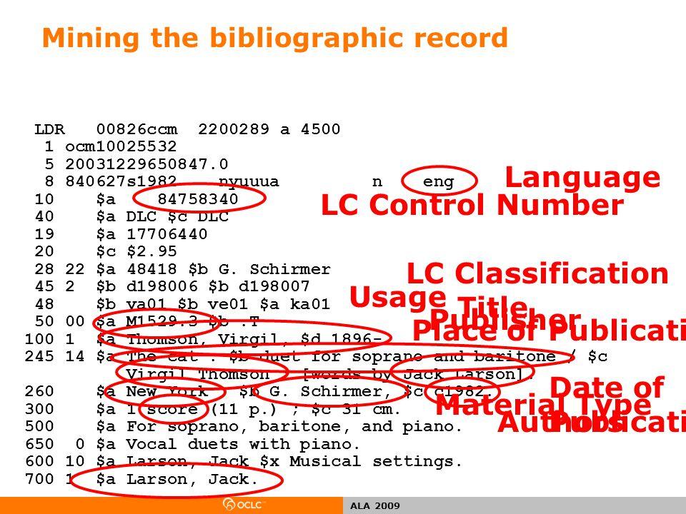 ALA 2009 Mining the bibliographic record LDR 00826ccm 2200289 a 4500 1 ocm10025532 5 20031229650847.0 8 840627s1982 nyuuua n eng 10 $a 84758340 40 $a DLC $c DLC 19 $a 17706440 20 $c $2.95 28 22 $a 48418 $b G.