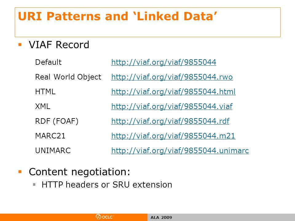 ALA 2009 URI Patterns and 'Linked Data'  VIAF Record  Content negotiation:  HTTP headers or SRU extension Defaulthttp://viaf.org/viaf/9855044 Real World Objecthttp://viaf.org/viaf/9855044.rwo HTMLhttp://viaf.org/viaf/9855044.html XMLhttp://viaf.org/viaf/9855044.viaf RDF (FOAF)http://viaf.org/viaf/9855044.rdf MARC21http://viaf.org/viaf/9855044.m21 UNIMARChttp://viaf.org/viaf/9855044.unimarc