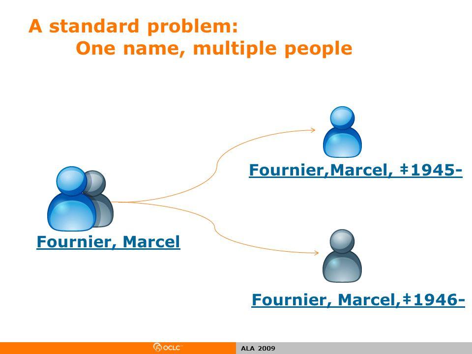 ALA 2009 A standard problem: One name, multiple people Fournier, Marcel Fournier, Marcel,‡1946- Fournier,Marcel, ‡1945-