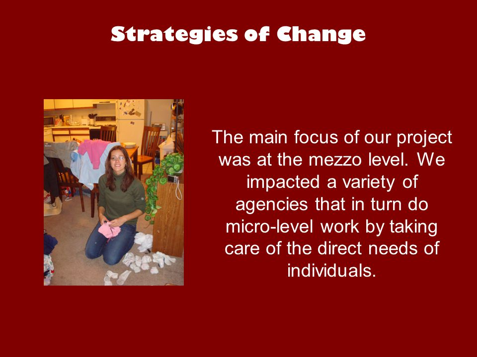 Strategies of Change The main focus of our project was at the mezzo level.
