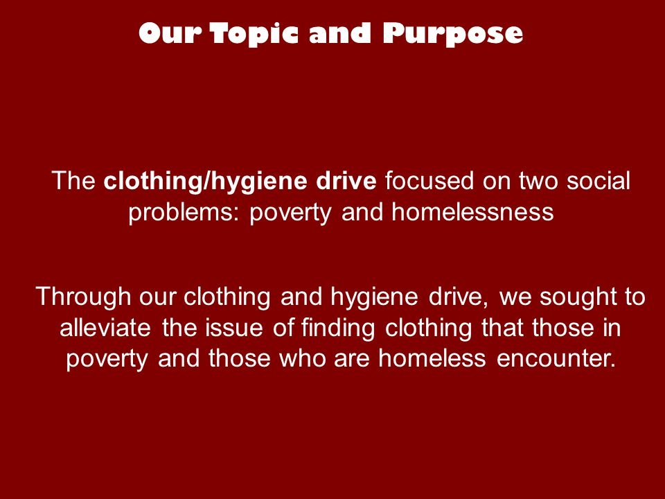 Stats taken from the Wilder Foundation Statistics In their 2006 survey, The Wilder Foundation found that 42% of the homeless surveyed reported that they accessed free or almost free clothing that day.
