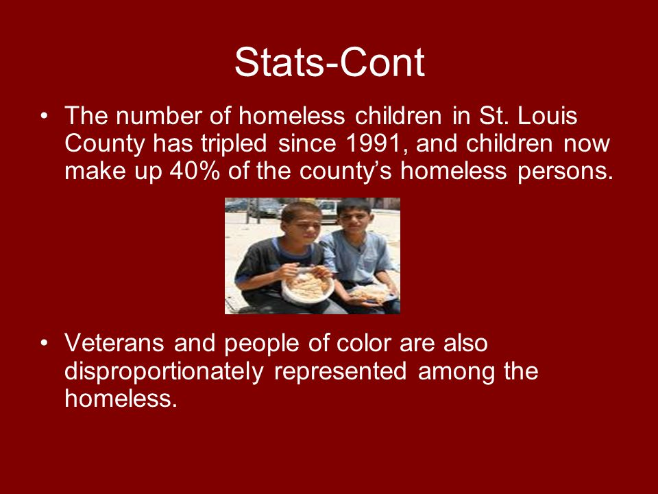 Stats-Cont The number of homeless children in St.