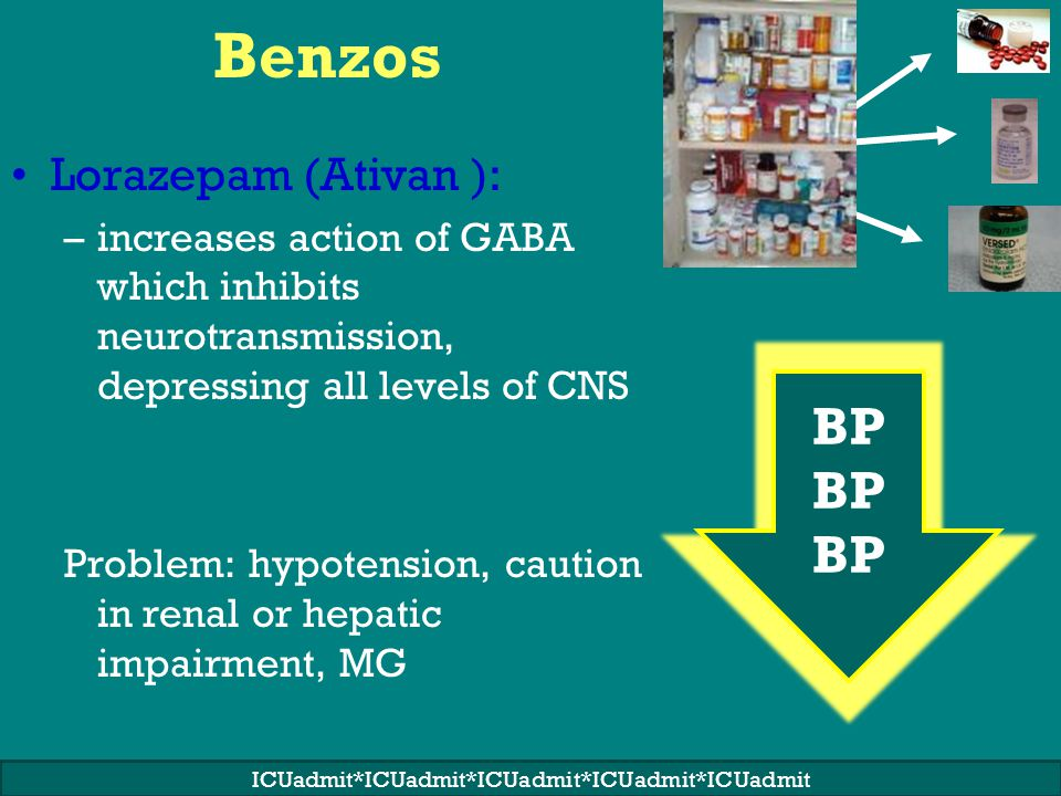 Benzos Lorazepam (Ativan ): –increases action of GABA which inhibits neurotransmission, depressing all levels of CNS Problem: hypotension, caution in renal or hepatic impairment, MG BP ICUadmit*ICUadmit*ICUadmit*ICUadmit*ICUadmit