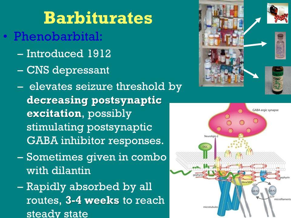 Barbiturates Phenobarbital: –Introduced 1912 –CNS depressant decreasing postsynaptic excitation – elevates seizure threshold by decreasing postsynaptic excitation, possibly stimulating postsynaptic GABA inhibitor responses.