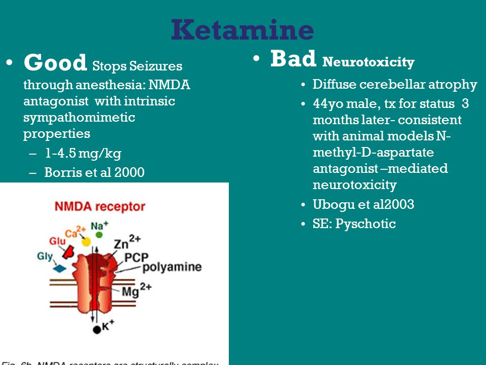 Ketamine Good Stops Seizures through anesthesia: NMDA antagonist with intrinsic sympathomimetic properties –1-4.5 mg/kg –Borris et al 2000 Bad Neurotoxicity Diffuse cerebellar atrophy 44yo male, tx for status 3 months later- consistent with animal models N- methyl-D-aspartate antagonist –mediated neurotoxicity Ubogu et al2003 SE: Pyschotic