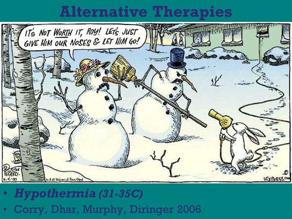 Alternative Therapies Hypothermia (31-35C) Corry, Dhar, Murphy, Diringer 2006