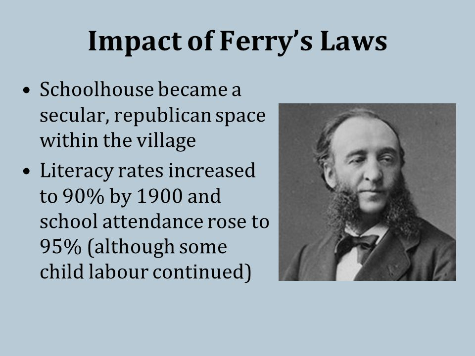 Impact of Ferry's Laws Schoolhouse became a secular, republican space within the village Literacy rates increased to 90% by 1900 and school attendance rose to 95% (although some child labour continued)