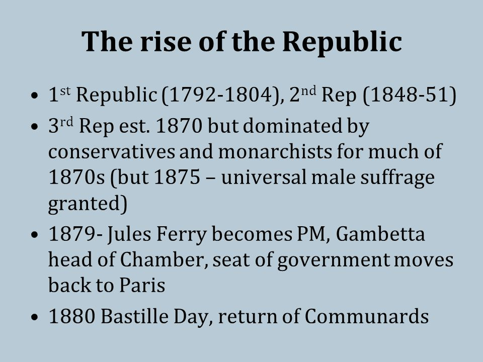 The rise of the Republic 1 st Republic (1792-1804), 2 nd Rep (1848-51) 3 rd Rep est.