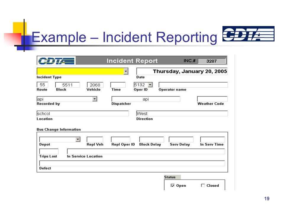 19 Example – Incident Reporting