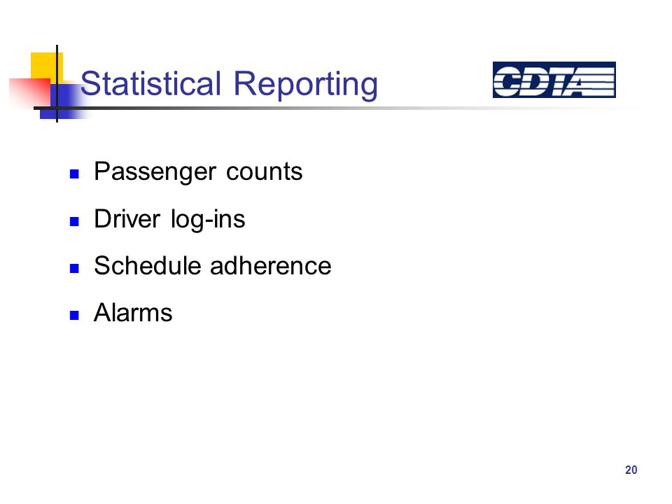 20 Statistical Reporting Passenger counts Driver log-ins Schedule adherence Alarms