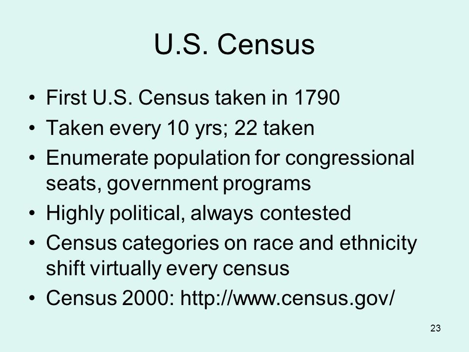 23 U.S. Census First U.S.