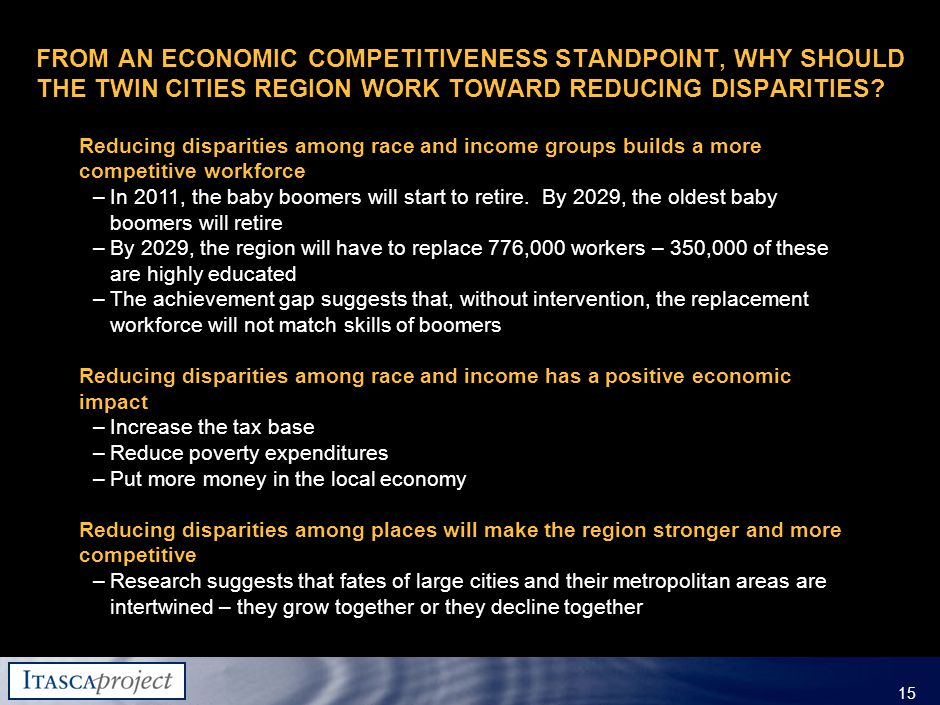 MW-ZXF585-20060118-310 15 FROM AN ECONOMIC COMPETITIVENESS STANDPOINT, WHY SHOULD THE TWIN CITIES REGION WORK TOWARD REDUCING DISPARITIES.
