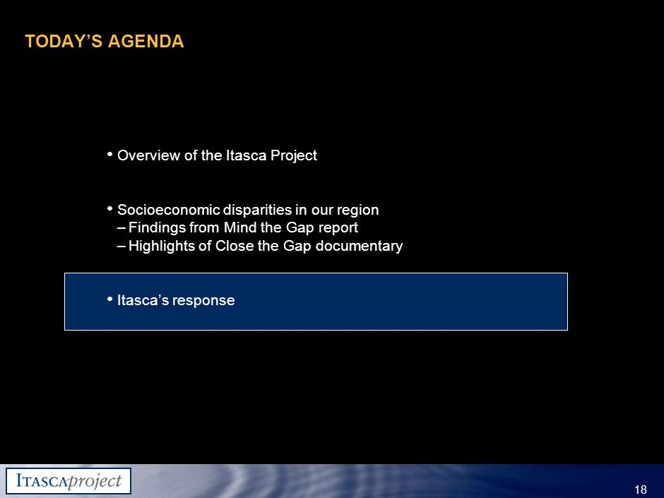 MW-ZXF585-20060118-310 18 TODAY'S AGENDA Overview of the Itasca Project Socioeconomic disparities in our region –Findings from Mind the Gap report –Highlights of Close the Gap documentary Itasca's response