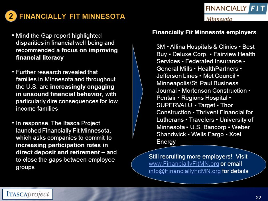 MW-ZXF585-20060118-310 22 FINANCIALLY FIT MINNESOTA Mind the Gap report highlighted disparities in financial well-being and recommended a focus on improving financial literacy Further research revealed that families in Minnesota and throughout the U.S.