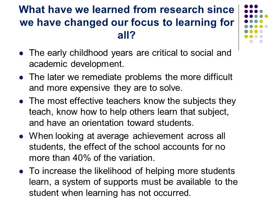 The early childhood years are critical to social and academic development.