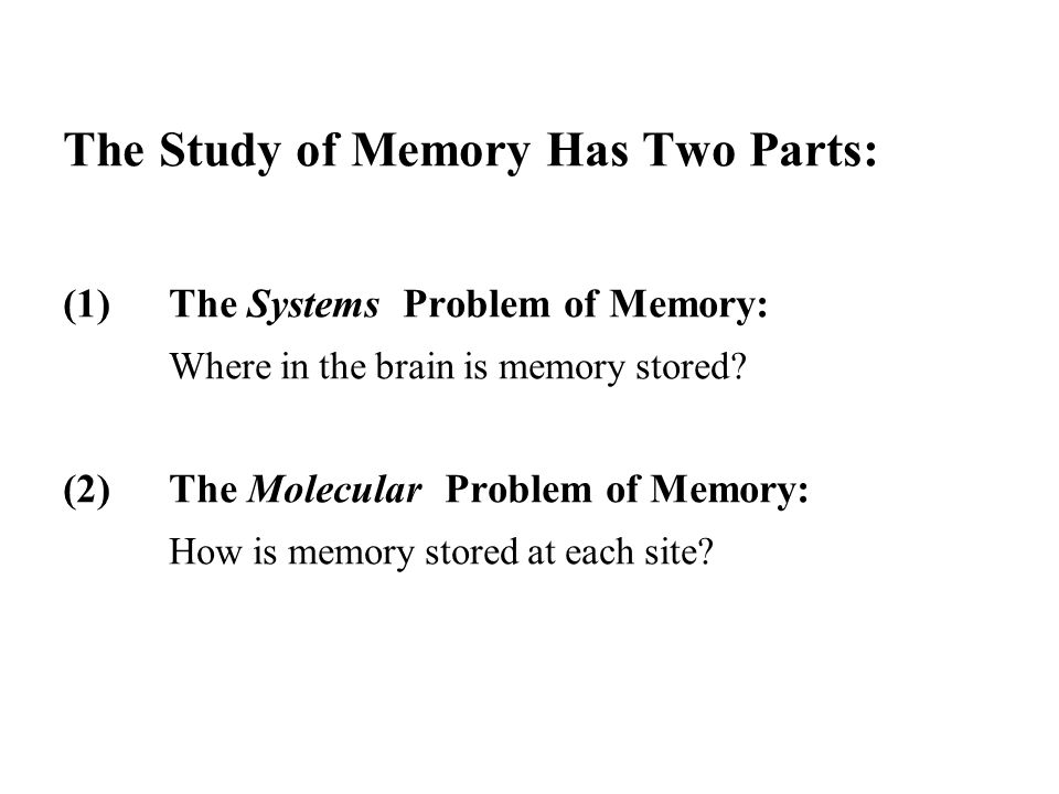 The Study of Memory Has Two Parts: (1)The Systems Problem of Memory: Where in the brain is memory stored? (2)The Molecular Problem of Memory: How is m