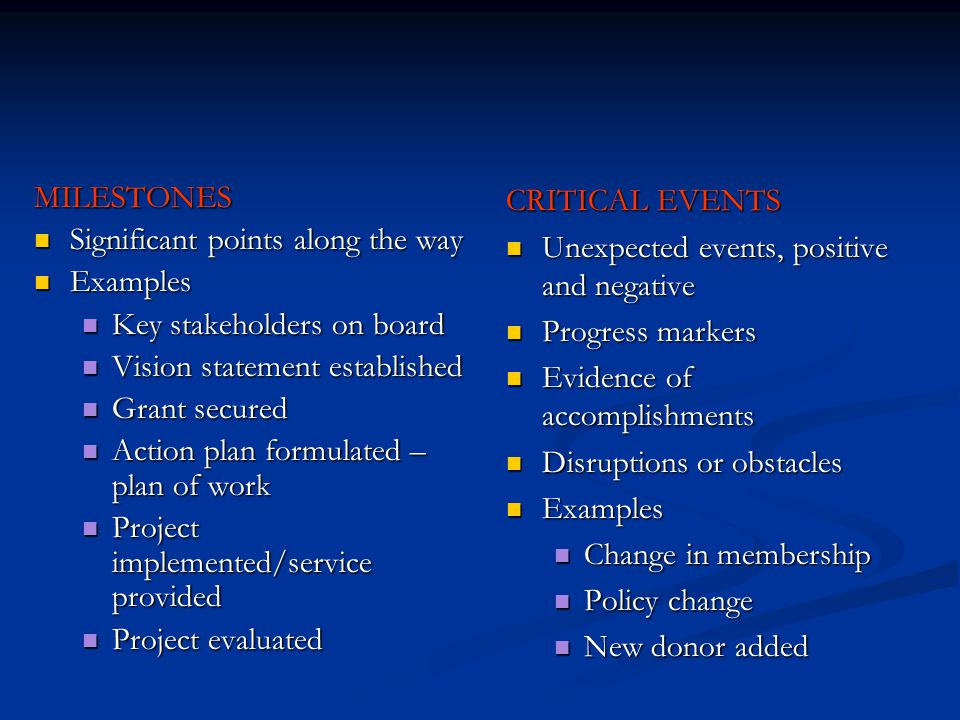 MILESTONES Significant points along the way Significant points along the way Examples Examples Key stakeholders on board Key stakeholders on board Vis