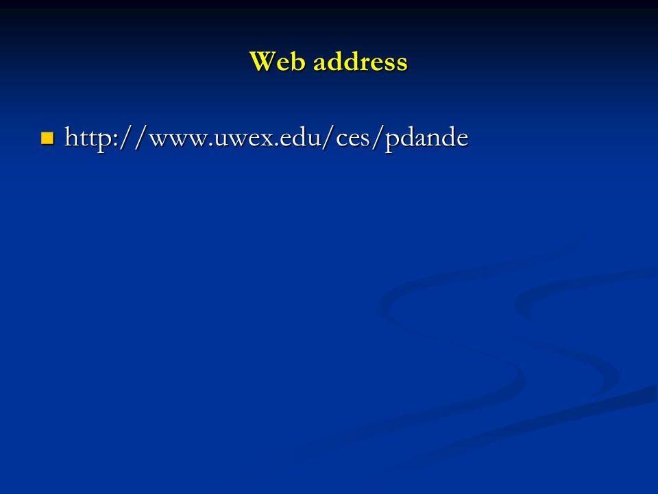 Web address http://www.uwex.edu/ces/pdande http://www.uwex.edu/ces/pdande