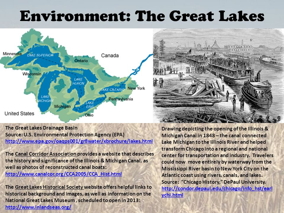 Environment: The Great Lakes The Great Lakes Drainage Basin Source: U.S. Environmental Protection Agency (EPA) http://www.epa.gov/oaqps001/gr8water/xb