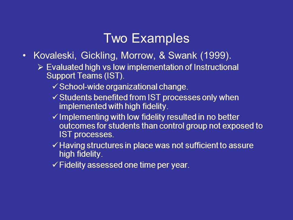 Two Examples Kovaleski, Gickling, Morrow, & Swank (1999).