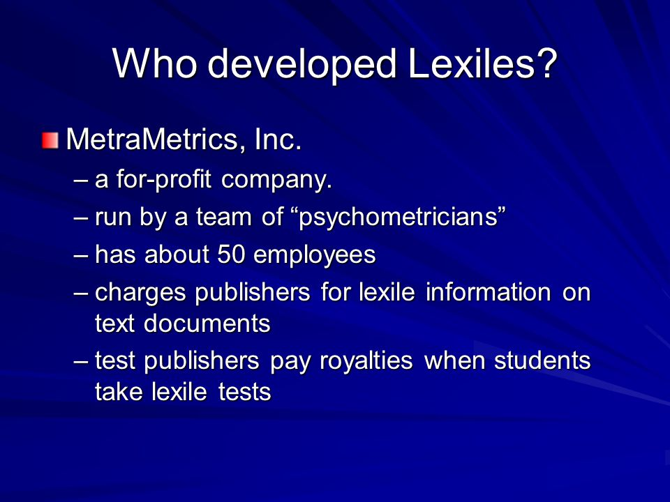 Some Lexile observations: Nonfiction tends to score higher than fiction.