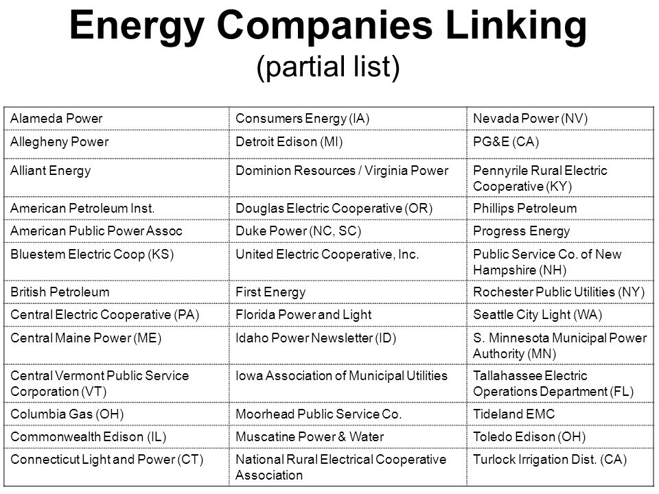 Energy Companies Linking (partial list) Alameda PowerConsumers Energy (IA)Nevada Power (NV) Allegheny PowerDetroit Edison (MI)PG&E (CA) Alliant EnergyDominion Resources / Virginia PowerPennyrile Rural Electric Cooperative (KY) American Petroleum Inst.Douglas Electric Cooperative (OR)Phillips Petroleum American Public Power AssocDuke Power (NC, SC)Progress Energy Bluestem Electric Coop (KS)United Electric Cooperative, Inc.Public Service Co.