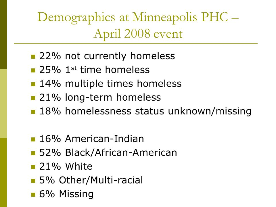 Demographics at Minneapolis PHC – April 2008 event 22% not currently homeless 25% 1 st time homeless 14% multiple times homeless 21% long-term homeless 18% homelessness status unknown/missing 16% American-Indian 52% Black/African-American 21% White 5% Other/Multi-racial 6% Missing
