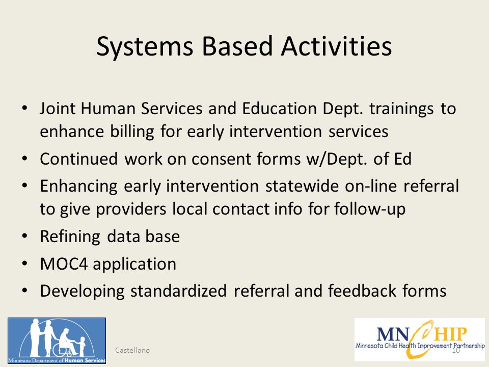 Systems Based Activities Joint Human Services and Education Dept.