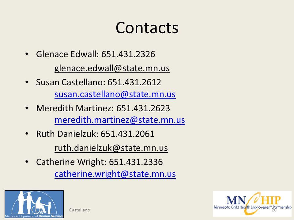 Contacts Glenace Edwall: 651.431.2326 glenace.edwall@state.mn.us Susan Castellano: 651.431.2612 susan.castellano@state.mn.us susan.castellano@state.mn