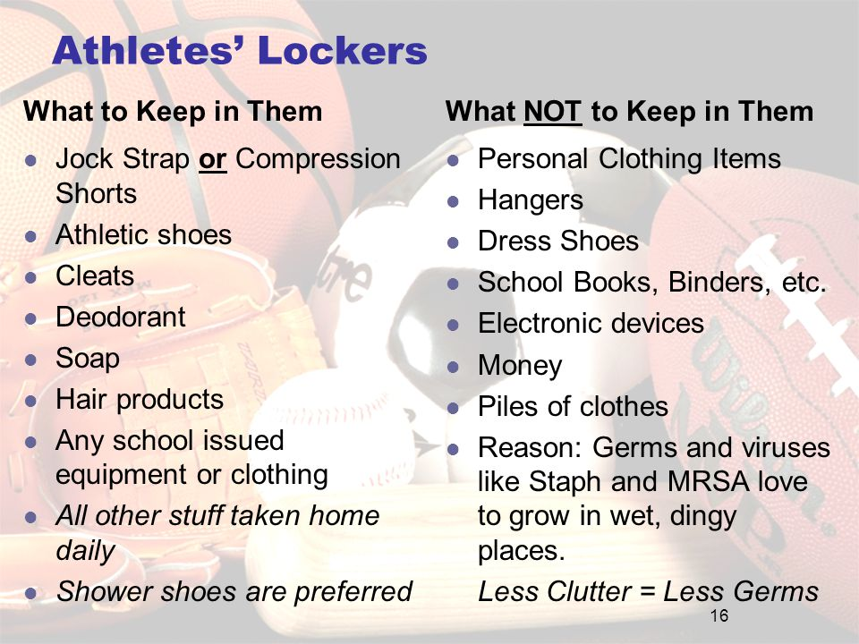 Athletes' Lockers What to Keep in Them Jock Strap or Compression Shorts Athletic shoes Cleats Deodorant Soap Hair products Any school issued equipment or clothing All other stuff taken home daily Shower shoes are preferred What NOT to Keep in Them Personal Clothing Items Hangers Dress Shoes School Books, Binders, etc.