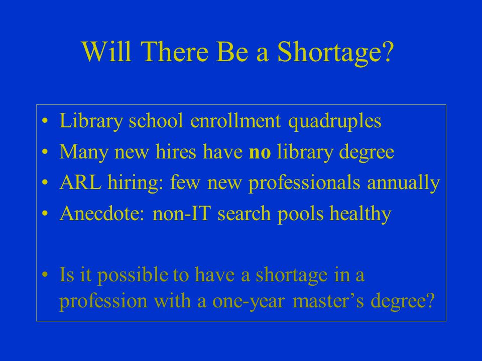 Will There Be a Shortage.