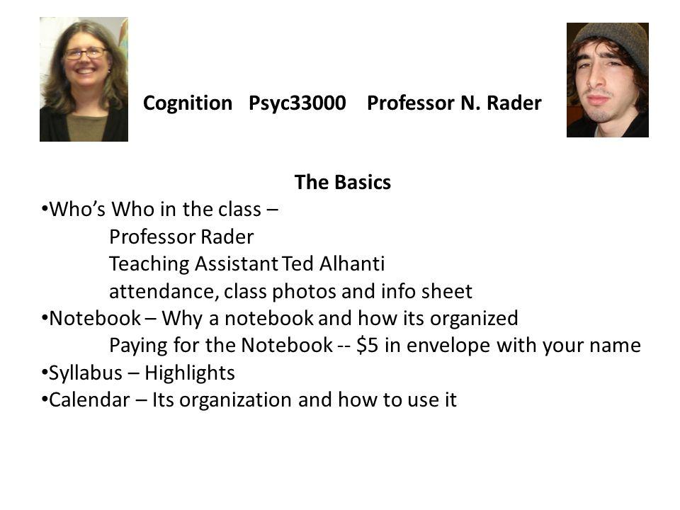 Cognition Psyc33000 Professor N.