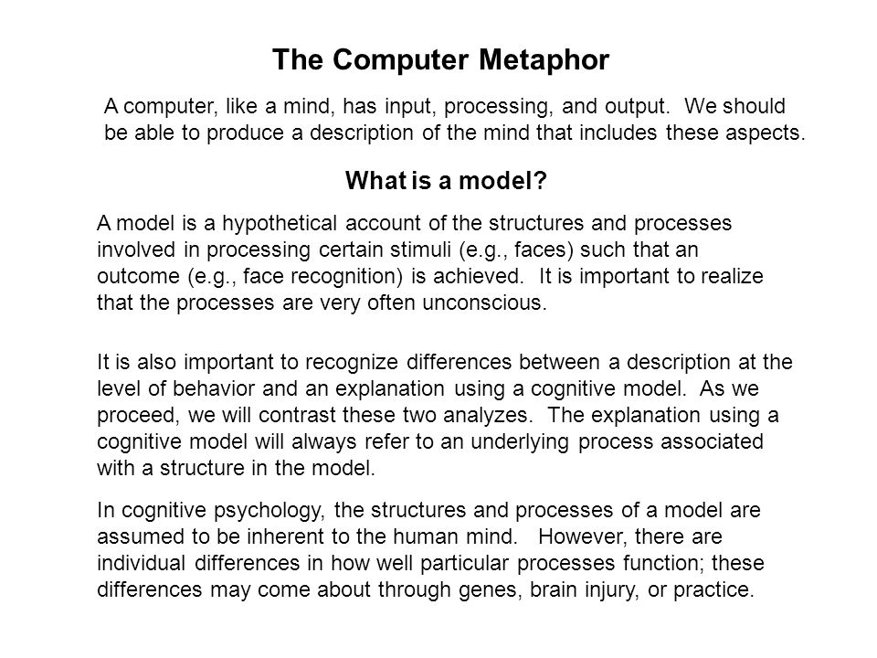 The Computer Metaphor What is a model.