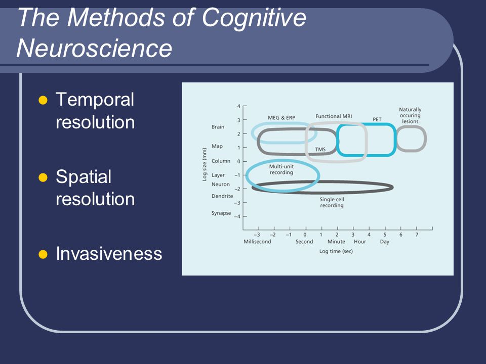 The Methods of Cognitive Neuroscience Temporal resolution Spatial resolution Invasiveness