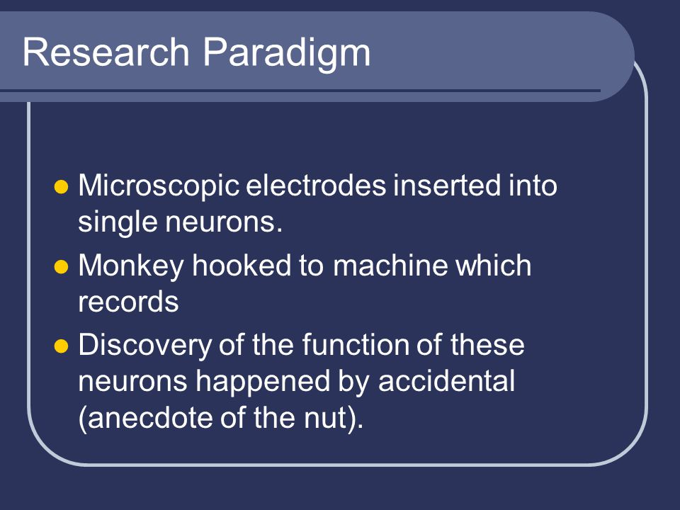 Research Paradigm Microscopic electrodes inserted into single neurons. Monkey hooked to machine which records Discovery of the function of these neuro