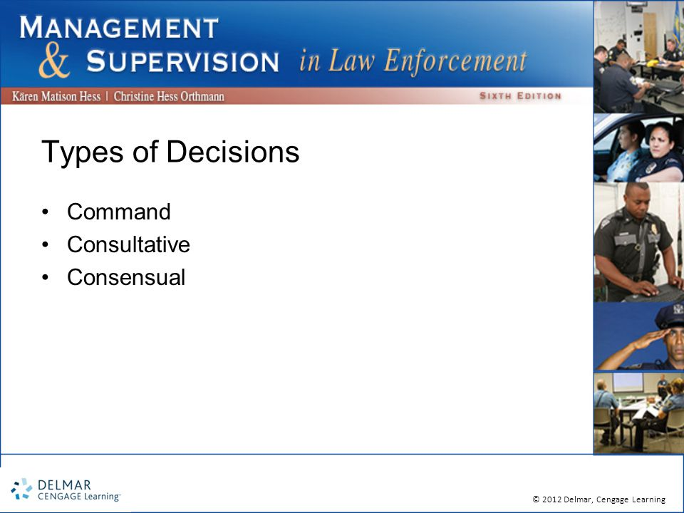 © 2012 Delmar, Cengage Learning Types of Decisions Command Consultative Consensual