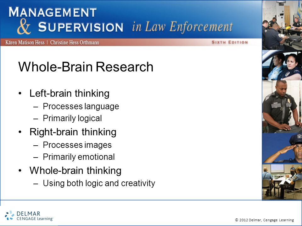 © 2012 Delmar, Cengage Learning Whole-Brain Research Left-brain thinking –Processes language –Primarily logical Right-brain thinking –Processes images –Primarily emotional Whole-brain thinking –Using both logic and creativity