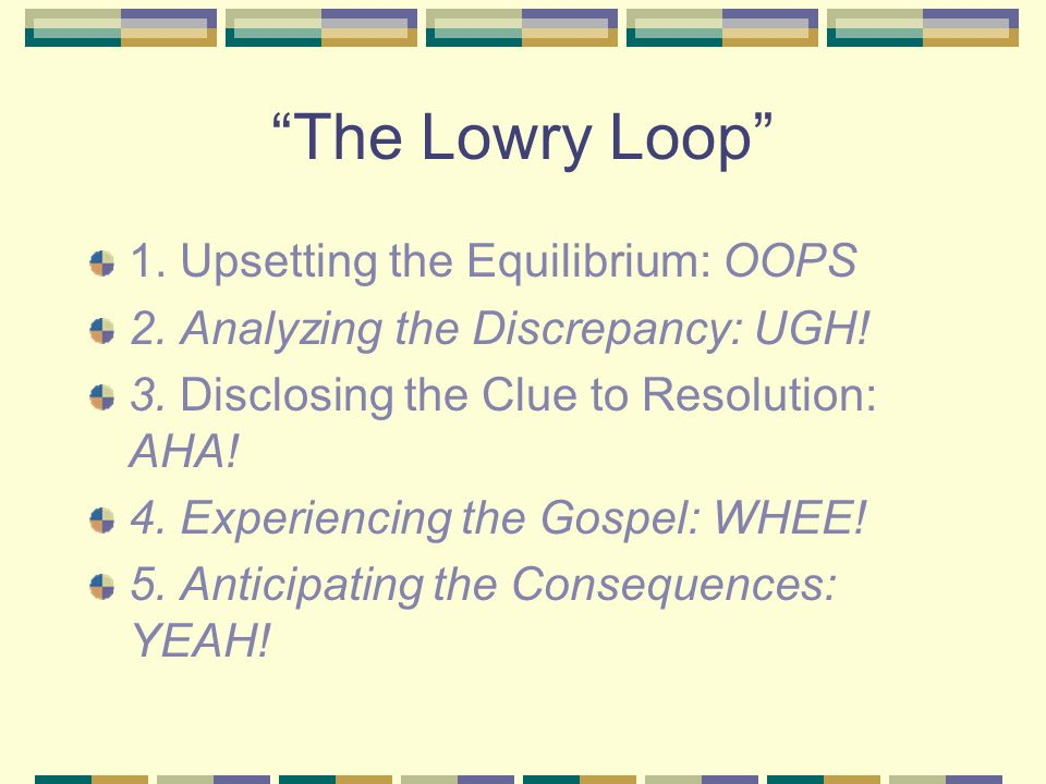 The Lowry Loop 1.Upsetting the Equilibrium: OOPS 2.