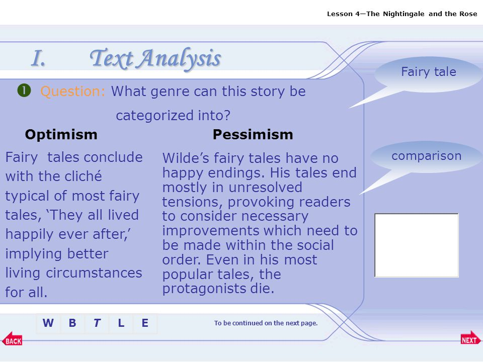 Lesson 4—The Nightingale and the Rose BTLEW I.Text Analysis Fairy tale To be continued on the next page.