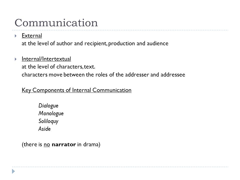 Communication  External at the level of author and recipient, production and audience  Internal/Intertextual at the level of characters, text.